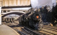 Pennsylvania Railroad K4 Class #1483 at Jersey City, New Jersey on April 25, 1956.