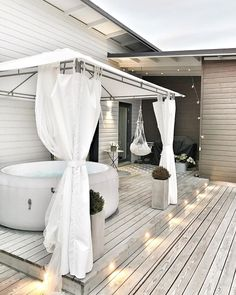 Hot Tub Gazebo, Hot Tub Garden, Hot Tub Backyard, Backyard Patio Designs, Home Upgrades, Halloween Home Decor, New Homes, Permanent Gazebo, Small Spaces
