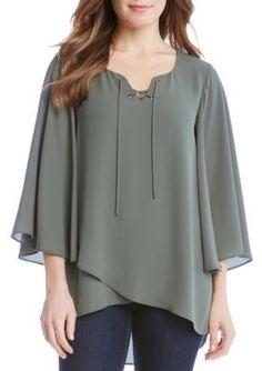 Karen Kane Women's Crossover Flare Sleeve Top - Olive - Xl
