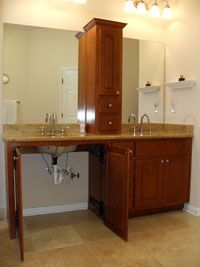 Roll under sink, great idea to make it look like other cabinets and slide in if needed