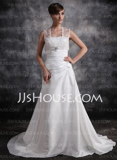 Wedding Dresses - $108.19 - A-Line/Princess V-neck Chapel Train Taffeta Wedding Dresses With Ruffle  Lace (002011420) http://jjshouse.com/A-line-Princess-V-neck-Chapel-Train-Taffeta-Wedding-Dresses-With-Ruffle-Lace-002011420-g11420