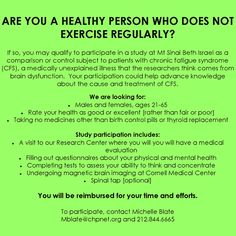 Healthy volunteers sought for study in Research Studies, Chronic Fatigue Syndrome, Volunteers, Nyc, Study, Healthy, Studio, Studying, Health