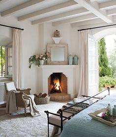 Understated corner fireplace