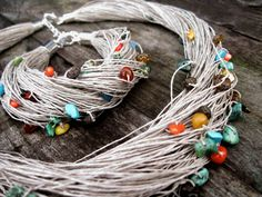 Rainbow Multicolor Necklace and Bracelet Set Eco by DreamsFactory