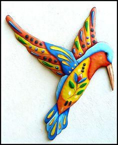 Painted Metal Art Hummingbird  Wall Hanging, Metal Wall Decor, Whimsical Art…