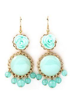 Sky Rose Cabochon Earrings.