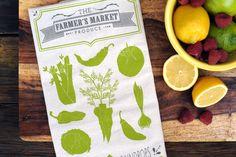 Farmer's Market Produce Kitchen Tea Towel | Ruff House Art