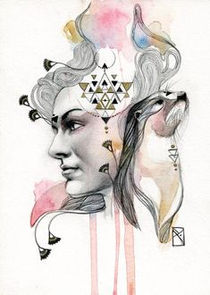 Media: Pencil, watercolor and acrylic on illustration board Size: x inches Year: 2014 © Patricia Ariel Joy Curiosity Playfulness Female energy. Watercolor Portraits, Watercolor Art, Whats Your Spirit Animal, Spirited Art, Animal Projects, Animal Totems, Gcse Art, Weird Art, Portrait Art