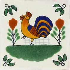 Rooster Ceramic Talavera Mexican Tile