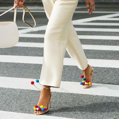 A party on your feet! Aquazzura 'Pom Pom' sandals, just in Miami, London, Florence Stunning Women, Beautiful, Pom Pom Sandals, Embellished Sandals, Denim Pants, Jeans, Aquazzura, Me Too Shoes, Women's Shoes