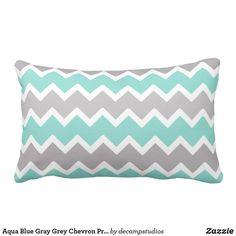 Aqua Blue Gray Grey Chevron Print Pattern Girl Lumbar Pillow