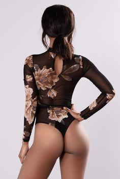 Tina Bodysuit - Black/Floral