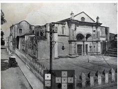 1920 - Foto frontal de la Catedral de Santo Domingo. Obsérvese a la izquierda la desaparecida calle Juan Barón que fue anexada al Parque Colón