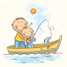 Illustration about Father and son in the boat, fishing. Illustration of happy, hobby, vector - 44610034 Art Drawings For Kids, Fish Drawings, Drawing For Kids, Cartoon Drawings, Cute Drawings, Art For Kids, Boat Cartoon, Happy Cartoon, Cartoon Kids