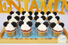 Mickey cupcakes from Vintage Mickey Mouse Themed Birthday Party at Kara's Party…