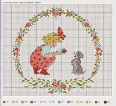 Russian cross-stitch design = girl and dog Just Cross Stitch, Cross Stitch Baby, Cross Stitch Flowers, Cross Stitch Charts, Cross Stitch Designs, Cross Stitch Patterns, Cross Stitching, Cross Stitch Embroidery, Embroidery Patterns