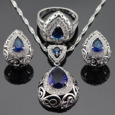 Ashley Blue Stones White CZ Silver Color Jewelry Sets For Women Hoop Earrings Necklace Pendant Rings Free Gift Box