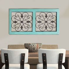 Traditional Mango Wood Framed Wall Panel with Metal Scroll Work Details, Green and Brown Metal Window Frames, Frames On Wall, Home Window Grill Design, Framed Wall, Rustic Design, Wood And Metal, Green And Brown, Home Decor Accessories, Decor Styles