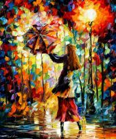 Rainy Mood by Leonid Afremov by Leonidafremov