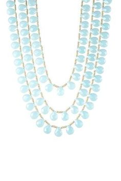 Chalcedony Glass Briolette & Beaded Triple Strand Necklace by diana