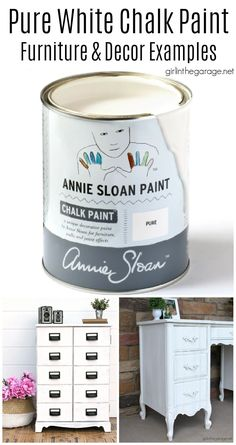 Learn about Pure White Chalk Paint by Annie Sloan and see beautiful painted furniture and decor ideas to inspire you. By Girl in the Garage Chalk Paint Mirror, Mirror Painting, White Chalk Paint, Chalk Paint Furniture, Diy Furniture Projects, Diy Painting, Furniture Makeover, Refinished Furniture, Craft Projects