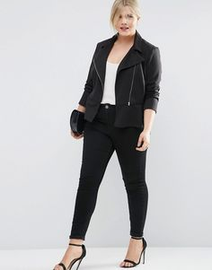 Image 4 ofASOS CURVE Peplum Ponte Jacket With Front Zip