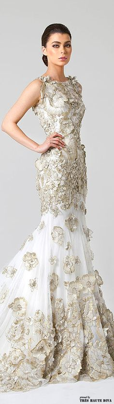 Amazing dress with gold accents / By: Rani Zakhem SS 2014 Bridal <3