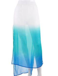 Blue Gradual Change Split Full Length Skirt