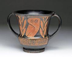 Greek Attic Sessile Kantharos - Owl,Athens, Greece, Ca 2nd quarter 5th century BCE.