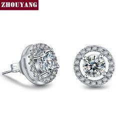 White Gold Round Shaped Stud Earrings