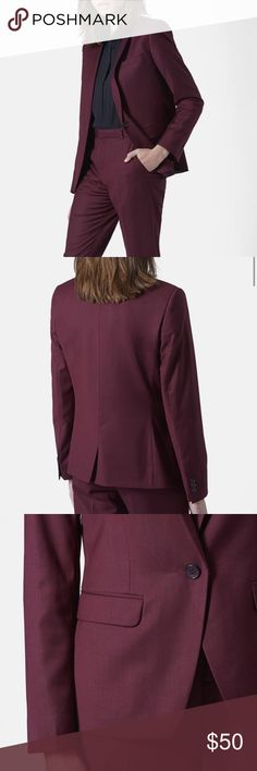 Topshop • Premium Suit Blazer Topshop Premium suit blazer in Oxblood size 4. Notch lapels, a one-button closure and a dainty back vent provide classic detailing for a tailored blazer. Front button closure. Dry clean. Lined. 71% polyester, 26% viscose, 3% elastane. Retail $120 Topshop Jackets & Coats Blazers