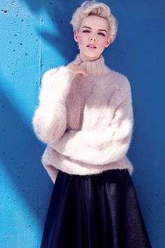 Credit: Lara Jade for the Observer Mohair jumper £350, and leather skirt £325, both Whistles Fashion editor: Jo JonesModel: Kerrie Lee Miller at The Lions NYHair and make-up: Dina at Soho Management using Chanel and L'Oréal Professionnel Tecni ArtShot on location in Los Angeles