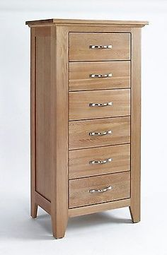 Sherwood Oak Chest 6 Drawer Tall Country Furniture Bedroom Small