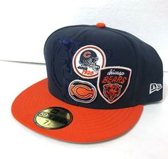 on sale c3607 82c08 CHICAGO BEARS PATCH LOGOS HAT new era 59Fifty navy blue orange FITTED SIZE  7-1 2  NewEra  ChicagoBears