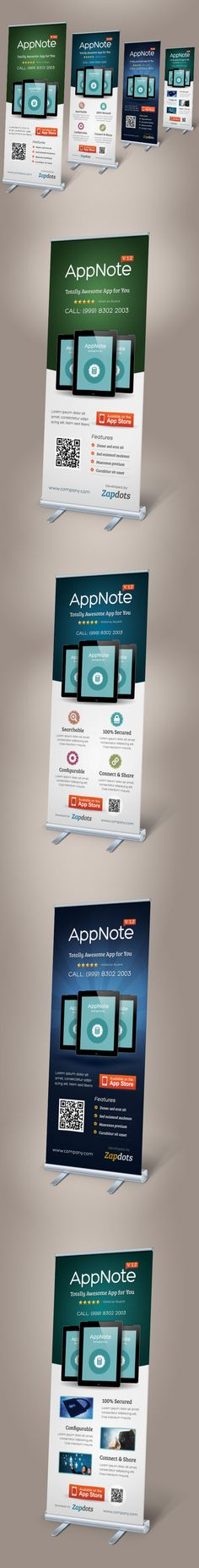 Buy Mobile App Promotion Roll-up Banners by on GraphicRiver. Perfect matching template: Flyer Mobile App Promotion Roll-up Banners A great-alternative roll-up banner template ide. Pull Up Banner Design, Standing Banner Design, Pop Up Banner, Rollup Design, Banner Design Inspiration, App Promotion, Android App Design, Letterhead Template, Cool Business Cards