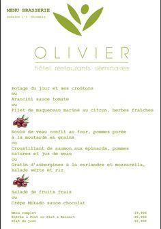Menu brasserie & Plats du jour Semaine du 1er au 5 décembre www.hotel-olivier.com Tél: + 352 313666