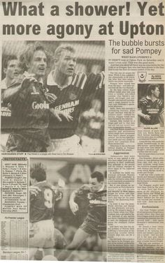 West Ham 2 Portsmouth 0 in Jan 1993 at Upton Park. Newspaper report on the Division 1 match.