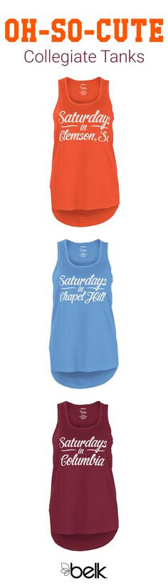 Football season is just around the corner and that means two things: tailgates and cute tanks. Update your collection of college apparel with a fun tank top designed with your college's logo or mascot. Style it with your favorite pair of shorts and a comfy pair of fashion sneakers and do football season in style. Shop college fashion and tailgate clothing in store or online at Belk.com.