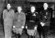 Galeazzo Ciano, Ion Antonescu, Benito Mussolini, and Mihail Sturdza, Rome, Italy, Nov 1940
