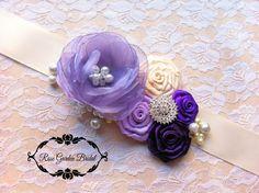 Vtg Purple lavender ivory bridal chiffon flower wedding belt beaded gown sash