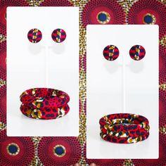 Ensemble boucles d'oreilles et lots de deux trois bracelets en wax kiny Paris