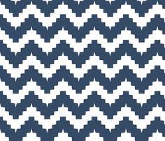 chevron navy fabric by ravynka on Spoonflower - custom fabric