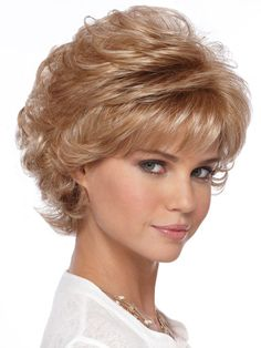 Mandy wig by Estetica Designs Wigs is a short layered cut wig with a flip back design combined with an open-stretch cap construction. Description from wigs.com. I searched for this on bing.com/images
