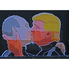 Donald Trump Kissing Putin, in various sizes, Graffiti Art, Giclee... ($8.99) ❤ liked on Polyvore featuring home, home decor, wall art, giclee wall art, canvas wall art and canvas home decor