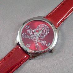 Watch Skull Clear Crystal Face Metallic Shiny Red Band Strap Adjustable #Geneva #Fashion