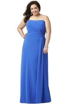 Strapless Chiffon A line Sleeveless Floor Length Bridesmaid Dress With Ruching - 1300302633B - US$149.99 - BellasDress