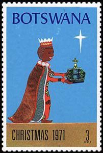 Leena, the Postationist elf, knows that on Christmas Eve in Botswana, the giraffes stretch their necks and are the first to see Santa's sleigh. They whisper the news to the elephants who trumpet it across the forests and farms, so the children know they must be fast asleep if they want a visit! (Stamp: Botswana 1971)
