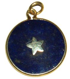 Third eye pendant of blue lapis with a central silver star, boardered in gold