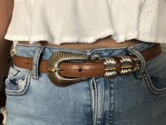 Navasota Western Designer Belt Genuine Leather Brown Unique Design Two Toned Buckle, Size Women's Belt, SuddenlySeen Vintage Silver Jewelry, Designer Belts, Leather Slippers, Southwest Style, Belts For Women, Necklace Designs, Belt Buckles, Necklaces, Antique
