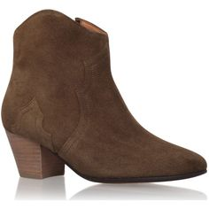 Isabel Marant Brown Suede Dicker Boots ($445) ❤ liked on Polyvore featuring shoes, boots, brown boots, isabel marant shoes, mid heel boots, boho shoes and mid heel shoes